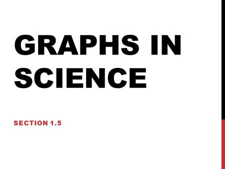 GRAPHS IN SCIENCE SECTION 1.5. OBJECTIVES 1.Explain what type of data line graphs can display. 2.Describe how you determine a line of best fit or the.