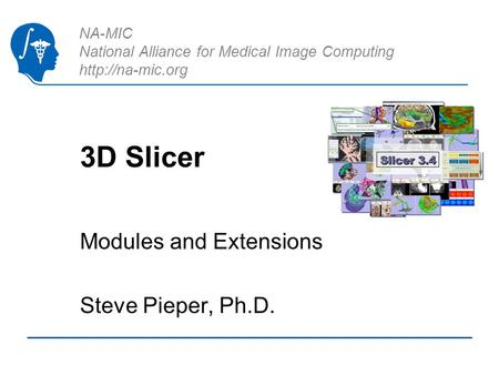 NA-MIC National Alliance for Medical Image Computing  3D Slicer Modules and Extensions Steve Pieper, Ph.D.