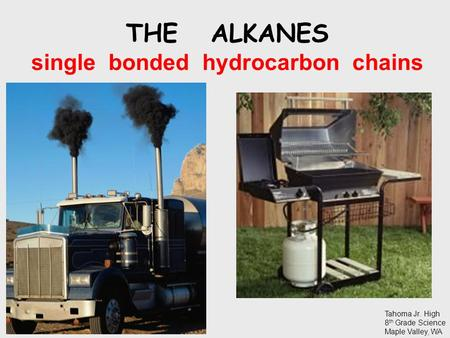 THE ALKANES single bonded hydrocarbon chains Tahoma Jr. High 8 th Grade Science Maple Valley, WA.