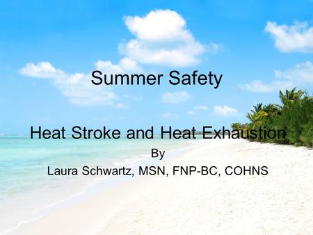 Summer Safety Heat Stroke and Heat Exhaustion By Laura Schwartz, MSN, FNP-BC, COHNS.