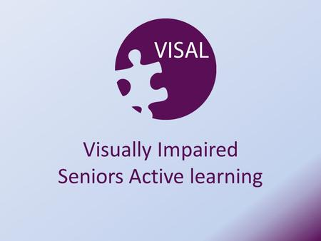 Visually Impaired Seniors Active learning. RNIB delivered o 5 Programmes o 4 Sheltered housing complexes for older people with sight loss and one care.