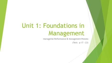 Unit 1: Foundations in Management Managerial Performance & Management Process (Text: p 17 - 23)