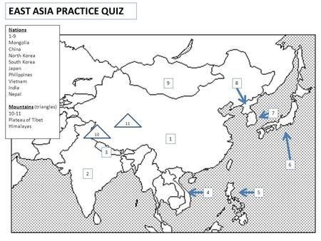 EAST ASIA PRACTICE QUIZ 1 2 3 4 5 6 8 7 9 Nations 1-9 Mongolia China North Korea South Korea Japan Philippines Vietnam India Nepal Mountains (triangles)