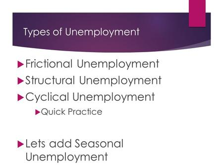 Types of Unemployment  Frictional Unemployment  Structural Unemployment  Cyclical Unemployment  Quick Practice  Lets add Seasonal Unemployment.