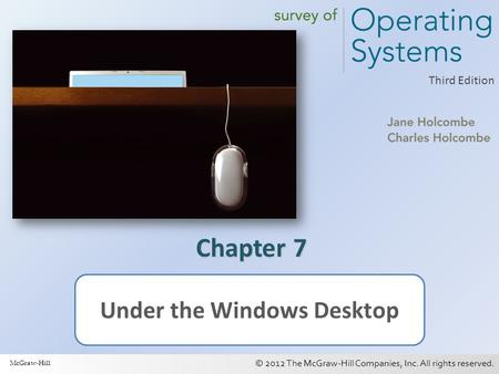 © 2012 The McGraw-Hill Companies, Inc. All rights reserved. 1 Third Edition Chapter 7 Under the Windows Desktop McGraw-Hill.