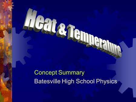 "Concept Summary Batesville High School Physics. Historical Heat  As late as 200 years ago, heat was regarded as a fluid, called ""caloric"".  It was believed."