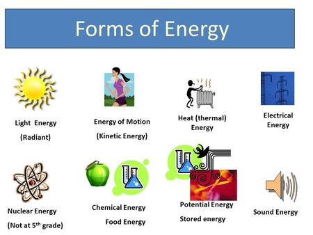 Light Energy (Radiant) Energy of Motion (Kinetic Energy) Heat (thermal) Energy Electrical Energy Nuclear Energy (Not at 5 th grade) Chemical Energy Food.