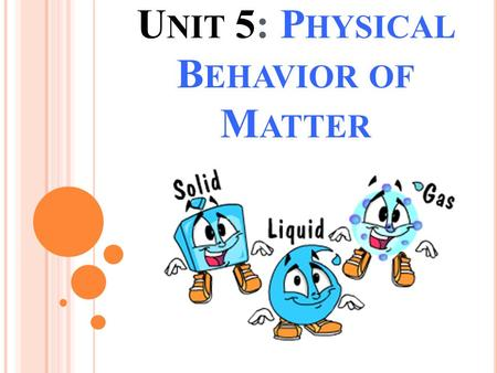 U NIT 5: P HYSICAL B EHAVIOR OF M ATTER. U NIT O VERVIEW In this unit you will learn about matter and energy, and how they interact in the universe. Whenever.