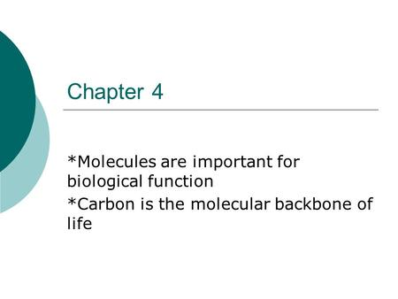 Chapter 4 *Molecules are important for biological function