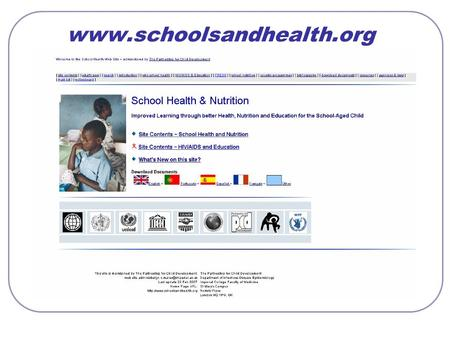 Www.schoolsandhealth.org. School Health & Nutrition Web Site: hits/month, January 2003 – January 2007.