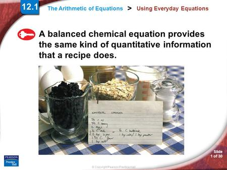 Slide 1 of 30 © Copyright Pearson Prentice Hall > The Arithmetic of Equations Using Everyday Equations A balanced chemical equation provides the same kind.