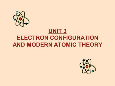 UNIT 3 ELECTRON CONFIGURATION AND MODERN ATOMIC THEORY.
