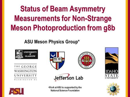 Status of Beam Asymmetry Measurements for Meson Photoproduction ASU Meson Physics Group Hadron Spectroscopy WG Meeting – June 2009 Status of Beam Asymmetry.