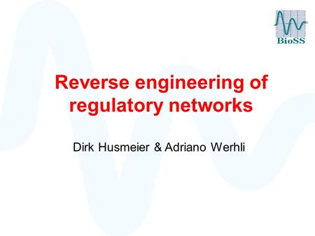 Reverse engineering of regulatory networks Dirk Husmeier & Adriano Werhli.