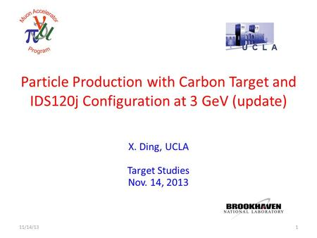 Particle Production with Carbon Target and IDS120j Configuration at 3 GeV (update) X. Ding, UCLA Target Studies Nov. 14, 2013 111/14/13.