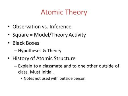 Atomic Theory Observation vs. Inference Square = Model/Theory Activity Black Boxes – Hypotheses & Theory History of Atomic Structure – Explain to a classmate.