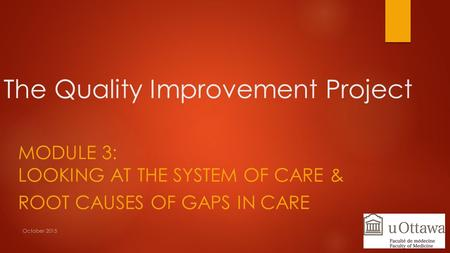 The Quality Improvement Project MODULE 3: LOOKING AT THE SYSTEM OF CARE & ROOT CAUSES OF GAPS IN CARE October 2015.