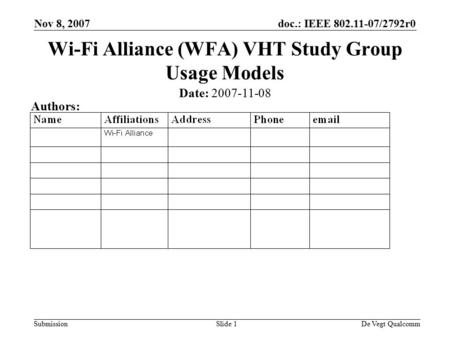 Doc.: IEEE 802.11-07/2792r0 Submission Nov 8, 2007 De Vegt QualcommSlide 1 Wi-Fi Alliance (WFA) VHT Study Group Usage Models Date: 2007-11-08 Authors:
