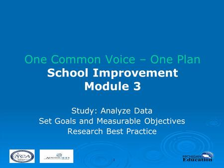1 One Common Voice – One Plan School Improvement Module 3 Study: Analyze Data Set Goals and Measurable Objectives Research Best Practice.