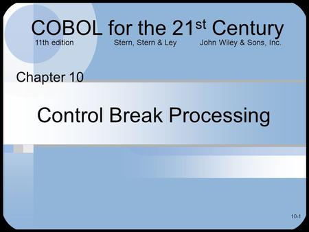 Control Break Processing