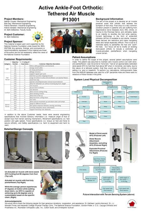 Active Ankle-Foot Orthotic: Tethered Air Muscle P13001 Project Members: Nathan Couper- Mechanical Engineering Bob Day- Mechanical Engineering Patrick Renahan-