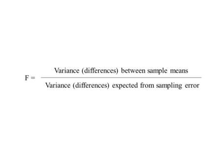 F formula F = Variance (differences) between sample means Variance (differences) expected from sampling error.