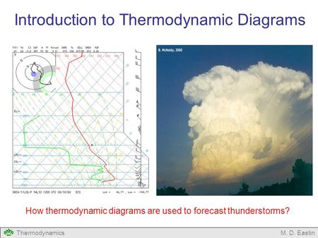 ThermodynamicsM. D. Eastin Introduction to Thermodynamic Diagrams How thermodynamic diagrams are used to forecast thunderstorms?