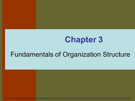 Fundamentals of Organization Structure