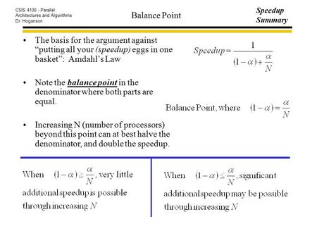 "CSIS 4130 - Parallel Architectures and Algorithms Dr. Hoganson Speedup Summary Balance Point The basis for the argument against ""putting all your (speedup)"