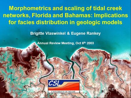 Vlaswinkel & Rankey, 2003 Annual Review CSL Morphometrics and scaling of tidal creek networks, Florida and Bahamas: Implications for facies distribution.