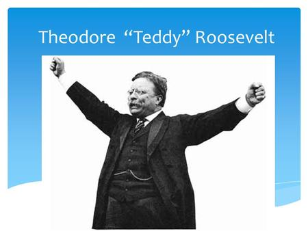 "Theodore ""Teddy"" Roosevelt.  Prominent NY family  State legislator; Civil Service National Gov't; Police Commission NYC; Governor NYC; Assistant Secr."