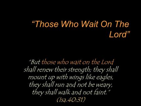 """Those Who Wait On The Lord"" ""But those who wait on the Lord shall renew their strength; they shall mount up with wings like eagles, they shall run and."