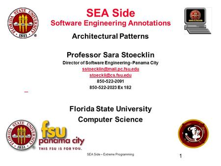 SEA Side – Extreme Programming 1 SEA Side Software Engineering Annotations Architectural Patterns Professor Sara Stoecklin Director of Software Engineering-