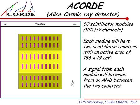 DCS Workshop, CERN MARCH 2004. ACORDE (Alice Cosmic ray detector) 60 scintillator modules (120 HV channels) Each module will have two scintillator counters.