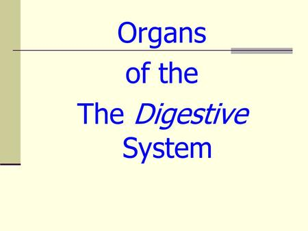 Organs of the The Digestive System. Mouth/Salivary Glands Grinds Food Changes carbohydrates into sugars Mechanical & chemical digestion take place Disorders.