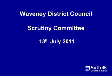 Waveney District Council Scrutiny Committee 13 th July 2011.