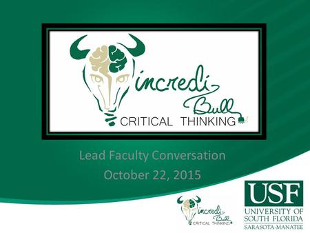 Lead Faculty Conversation October 22, 2015. Broad Participation.