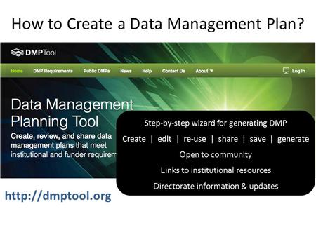 How to Create a Data Management Plan? Step-by-step wizard for generating DMP Create | edit | re-use | share | save | generate Open to community Links to.
