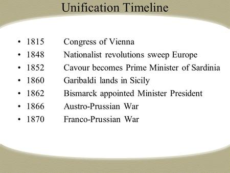 Unification Timeline 1815Congress of Vienna 1848Nationalist revolutions sweep Europe 1852Cavour becomes Prime Minister of Sardinia 1860Garibaldi lands.