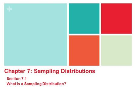 + Chapter 7: Sampling Distributions Section 7.1 What is a Sampling Distribution?
