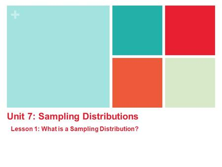+ Unit 7: Sampling Distributions Lesson 1: What is a Sampling Distribution?