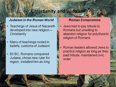 Jews had to pay tribute to Romans but unwilling to abandon religion for polytheistic religion of Romans Roman leaders allowed Jews to practice religion.