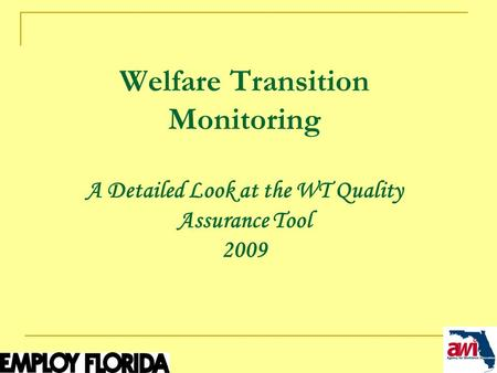 1 Welfare Transition Monitoring A Detailed Look at the WT Quality Assurance Tool 2009.