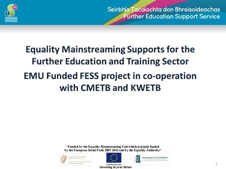 Equality Mainstreaming Supports for the Further Education and Training Sector EMU Funded FESS project in co-operation with CMETB and KWETB 1.