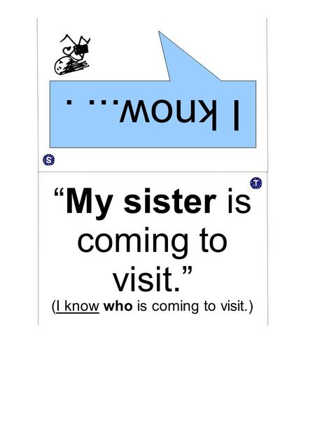 "I know.... ""My sister is coming to visit."" (I know who is coming to visit.)"