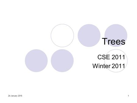 24 January 20161 Trees CSE 2011 Winter 2011. 2 Trees Linear access time of linked lists is prohibitive  Does there exist any simple data structure for.