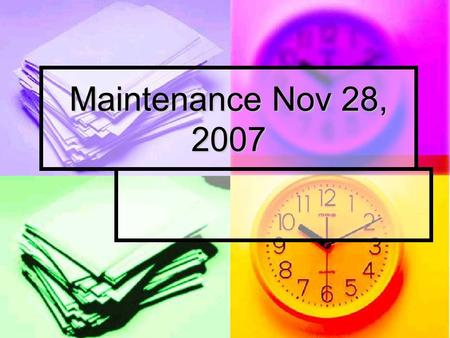 Maintenance Nov 28, 2007. Accelerator Access LINAC will remain on RA. It is not yet running. LINAC will remain on RA. It is not yet running. Booster-