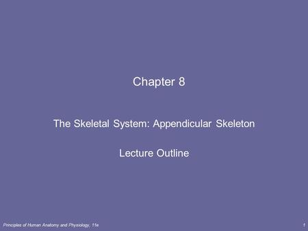 The Skeletal System: Appendicular Skeleton Lecture Outline