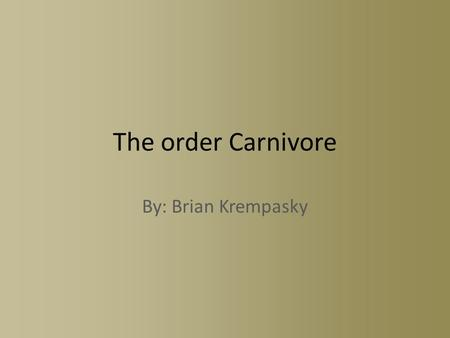 The order Carnivore By: Brian Krempasky. Mustelids- Weasels Mustelids include skunks, mink, fisher, and ermine (short tailed weasel) Weasels are characterized.