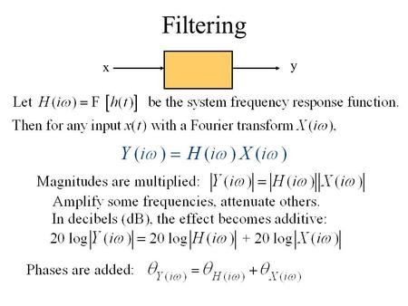 X y Filtering. Ideal lowpass filter 1 Is it physically realizable? Looking at the impulse response: